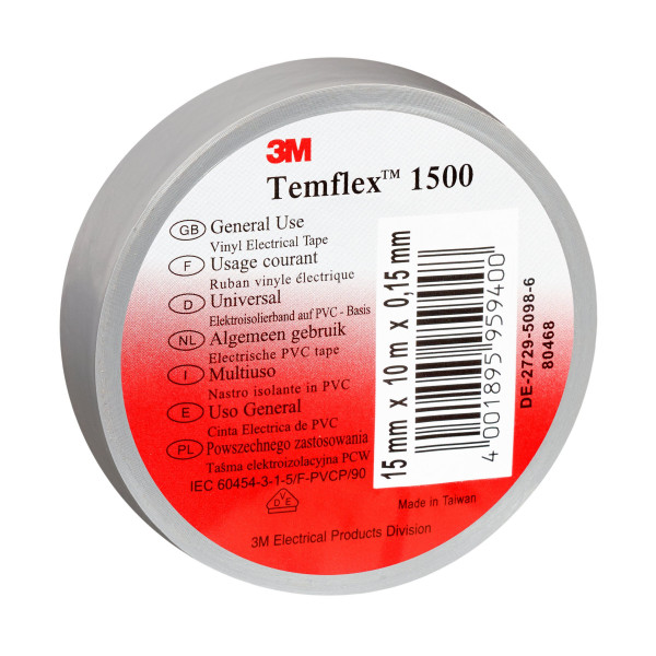 Artikelbild des Artikels 3M™ Temflex™ 1500 Vinyl Elektro-Isolierband 15 mm x 10 m, grau