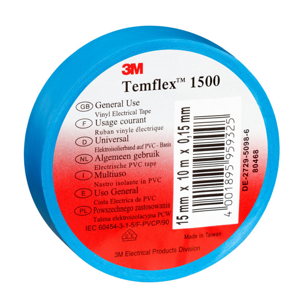 Artikelbild des Artikels 3M™ Temflex™ 1500 Vinyl Elektro-Isolierband 15 mm x 10 m, blau