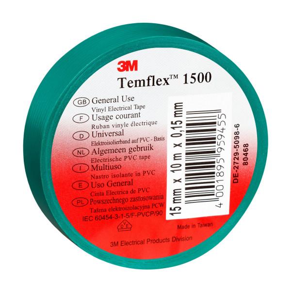 Artikelbild des Artikels 3M™ Temflex™ 1500 Vinyl Elektro-Isolierband 15 mm x 10 m, grün