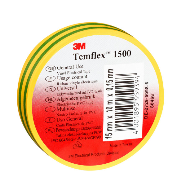 Artikelbild des Artikels 3M™ Temflex™ 1500 Vinyl Elektro-Isolierband 15 mm x 10 m, grün-gelb